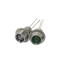 GREEN LED 2V. 8mm WITH NUT. CONCAVE REFLECTOR