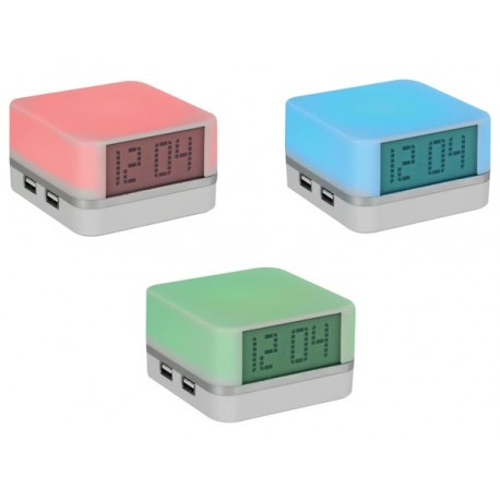 USB 2.0 HUB / 4 PORTS + DIGITAL CLOCK AND MOOD LIGHT