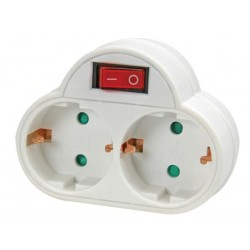 ADAPTER WITH ON/OFF SWITCH - 2 SOCKETS