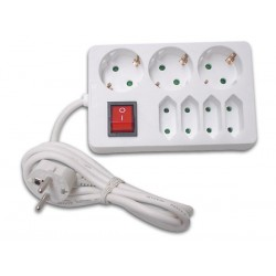 NET POWER BLOCK 3 ROUND AND 4 FLAT PLUGS, WITH SWITCH