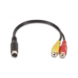 ADAPTER CABLE MINI-DIN MALE TO 2 x RCA PLUG FEMALE