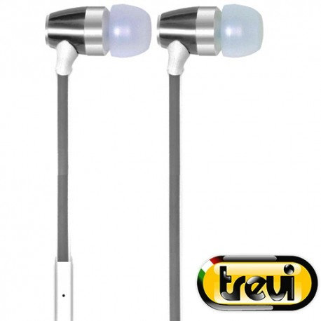 EARPHONES WITH MICROPHONE & FLAT ELASTIC CABLE TREVI