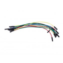 SET OF AWG BREADBOARD JUMPER WIRES - ONE PIN FEMALE TO FEMALE - 15 cm - 10 pcs