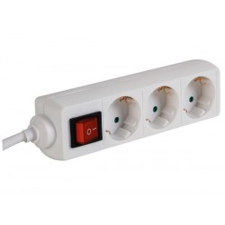 3-WAY SOCKET-OUTLET WITH SWITCH - 3 m CABLE