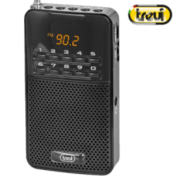 TREVI PORTABLE BLACK RADIO WITH SPEAKER HQ & LED DISPLAY