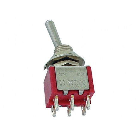 VERTICAL TOGGLE SWITCH DPDT (ON)-OFF-(ON)