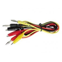 TEST LEAD SET - BANANA PLUG / BOOTED CROCODILE PLUG / 3 WIRES RED. BLACK AND YELLOW