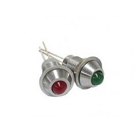 RED LED 2V. 8mm WITH NUT. CONVEX REFLECTOR