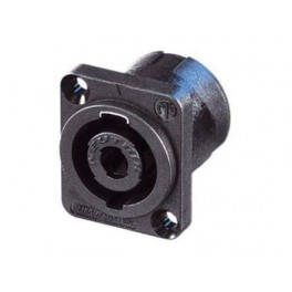 NEUTRIK - SPEAKON MOUNTING PLUG. 4-PIN MALE. BLACK. D-SIZE, SQUARE SHAPED