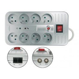 NET POWER BLOCK - PIN EARTH WITH SURGE PROTECTION. OVERLOAD PROTECTION. TV JACK. PHONE JACK
