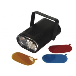 MINI STROBO LIGHT 25W WITH 3 INTERCHANGEABLE COLOUR FILTERS